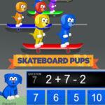 Calculs de 2 opérations: Course de skateboard